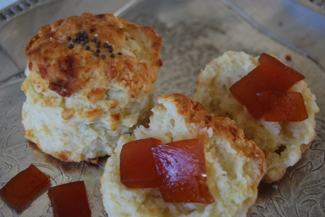 English mustard and Cheddar scones with quince paste