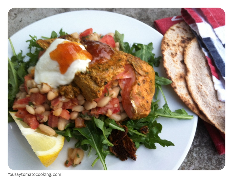 Tandoori salmon salad with Indian spiced beans, flat breads, mango chutney and yoghurt