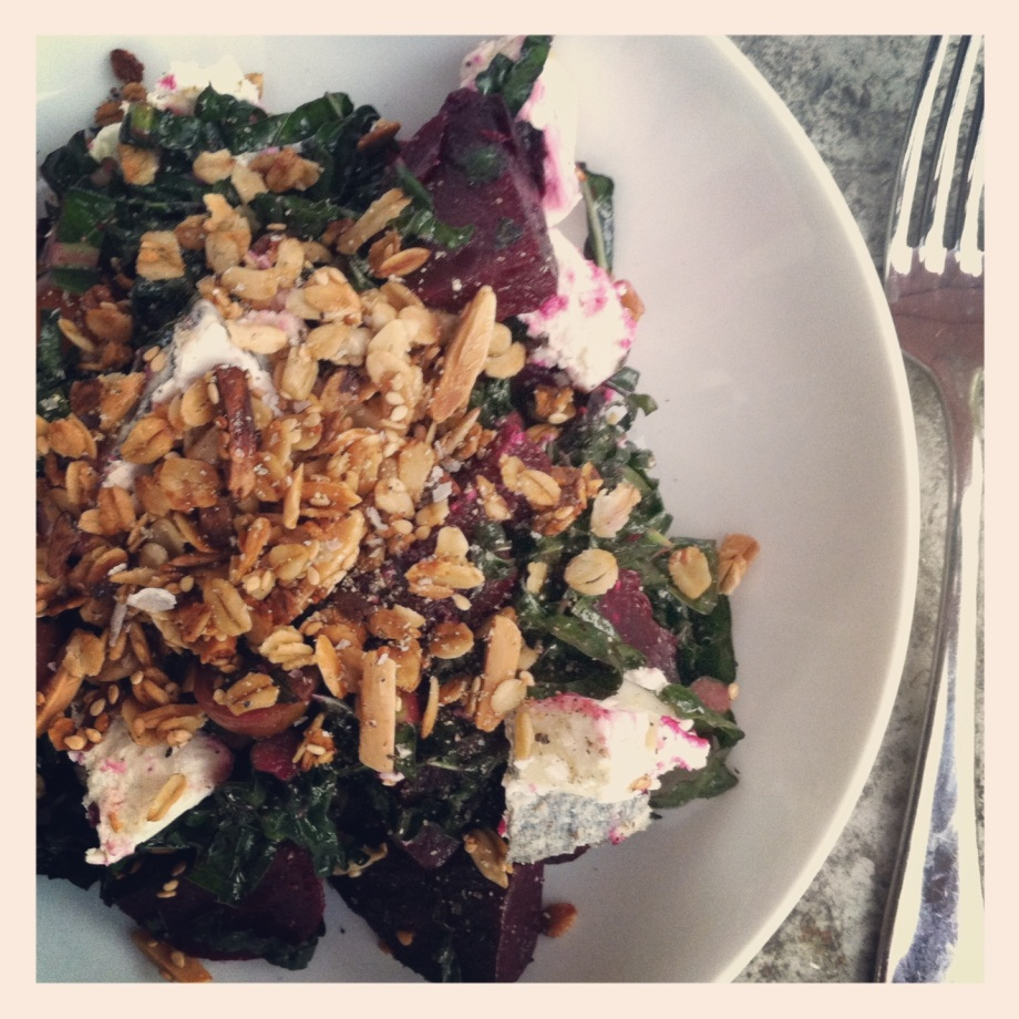 a new way to crunch – roast beet, goats cheese and kale salad with savoury granola
