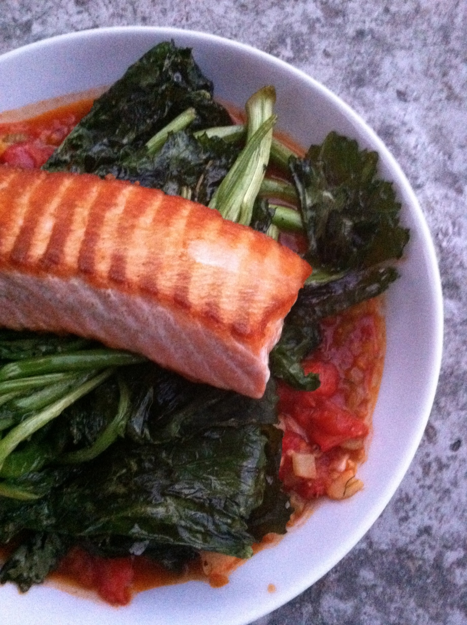 salmon with tomato fennel sauce and broccolini