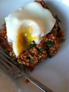 bacon and buckwheat porridge with an oozy egg