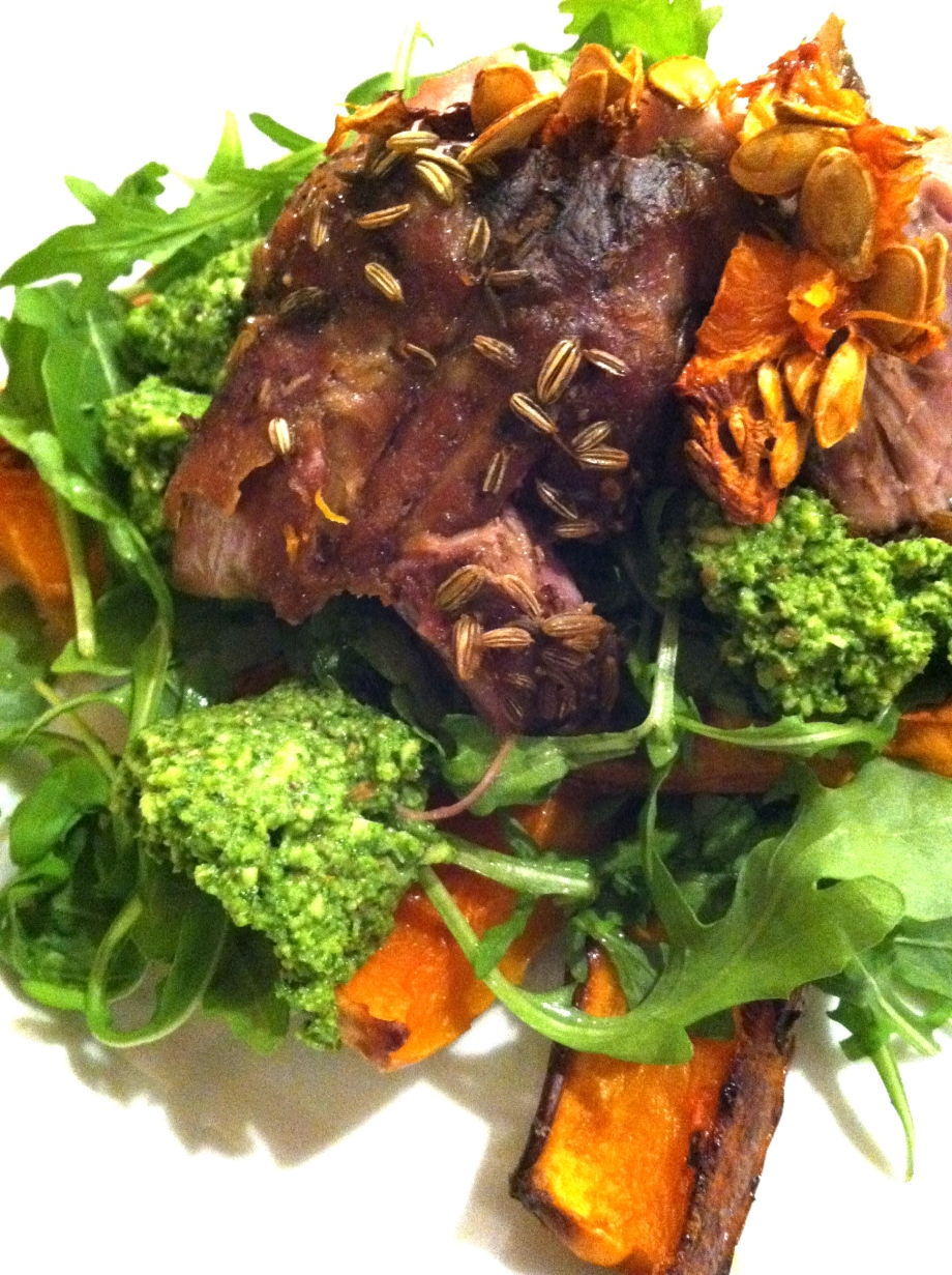 How to work without a recipe and find inspiration – slow roasted pork with kale pesto, roast butternut squash and greens