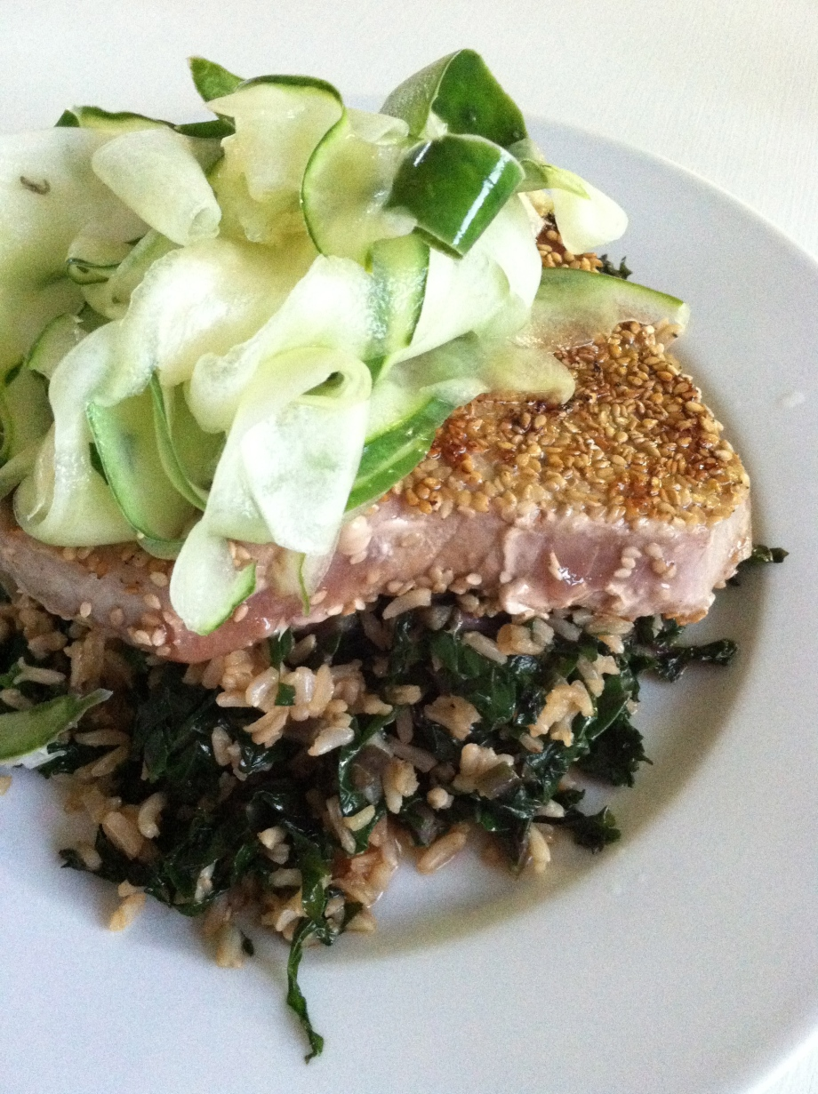 Sesame wasabi crusted fish with kale rice and a cucumber ginger salad
