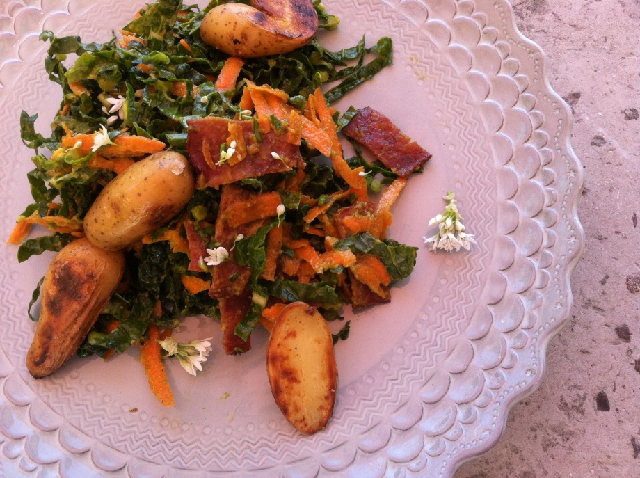 ultimate kale salad with avocado dressing and crunchy potatoes