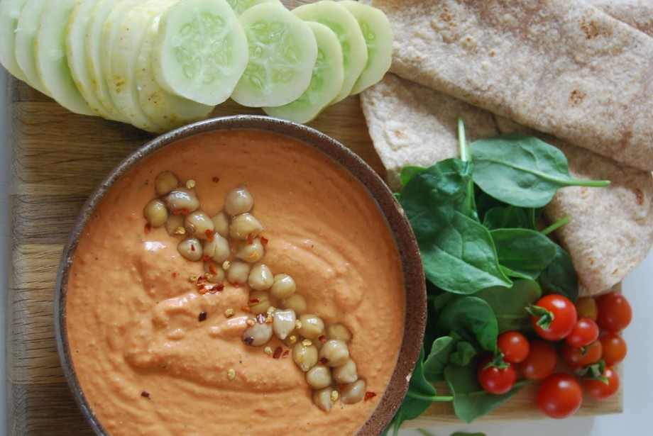 you say hummus, I say red pepper store cupboard houmous
