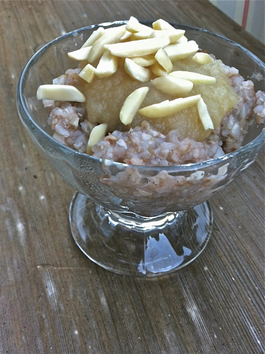 autumn buckwheat porridge with dates, almonds and apple