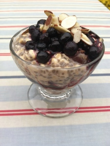 Chia pudding with blueberries and almonds