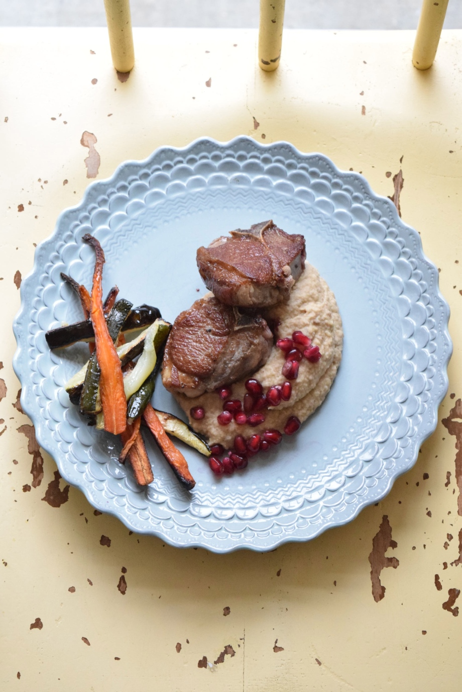 spiced chickpea mash with grilled lamb and pomegranate